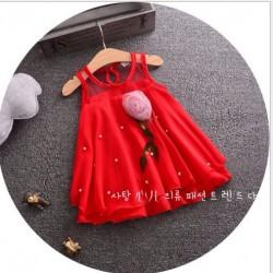 AG58 - Áo váy voan đỏ gắn hoa cho bé 1t - 3t (10kg - 15kg)
