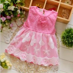 V2084 - Váy hồng sát nách gắn nơ pha ren xinh xắn cho bé 11kg đến 13kg