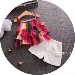 BG168 - Bộ bé gái áo 2 dây tầng kèm quần trắng cho bé 1t - 4t ( 10kg - 17kg )