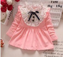 V698 - Váy dài tay hồng cam ngực pha hoa nhí xinh cho bé 8kg - 12kg