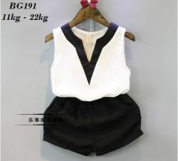 BG191 - Bộ voan sát nách áo trắng cổ chữ V kèm quần đen cho bé 11kg - 22kg