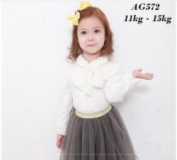 AG572 - Áo sơ mi thun trắng dài tay thắt nơ cho bé 11kg - 15kg