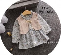 V695 - Váy thu dài tay hoa nhí xanh giả gile cho bé 7kg - 12kg