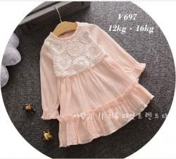 V697 - Váy thu dài tay màu hồng pha ren hoa trắng cho bé 12kg - 16kg