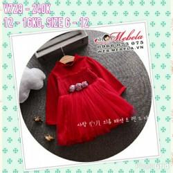 V729 - Váy dài tay đỏ đun 3 hoa hồng cho bé 2t - 4t (12kg - 16kg)