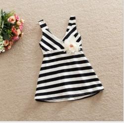 V2117 Váy kẻ đen trắng cài hoa cho bé 15-28kg, 3-8t, sz 100-140