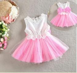 V2114 - Váy sát nách trắng hồng nơ lưng cho bé 12-16kg; 2-4t; sz 90 - 130