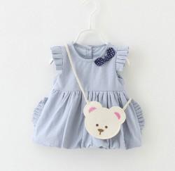 V733 - Váy xanh 2 lớp tay cánh tiên kèm túi gấu cho bé 6kg - 11kg; 3th - 24th; sz M - XXL