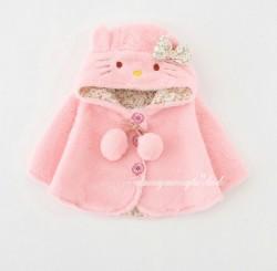 AC16 - Áo choàng lông hồng mèo kitty cho bé 8kg - 13kg; 8th - 3t; sz 6 - 12