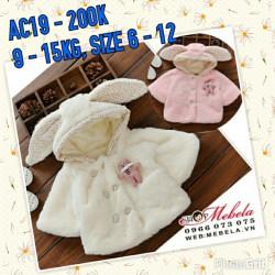 AC19 - Áo choàng có tay tai thỏ gắn gấu cho bé 9kg - 15kg; 9th - 3t; sz 6 - 12