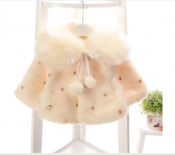AC15 - Áo choàng cổ lông đính hạt trai cho bé 10kg - 15kg; 1t - 3t; sz 6 - 12