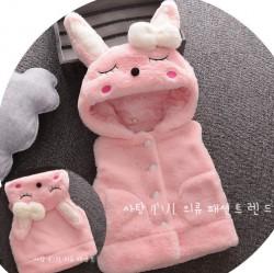 KG284 - Áo khoác gile lông hồng liền mũ thỏ ngủ cho bé 12kg - 18kg; 2t - 5t; sz 6 - 12