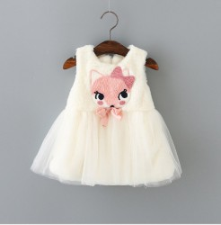V707 - Váy gile lông trắng hình cáo nhỏ cho bé 8kg - 12kg; 8th - 24th; sz 6 - 12