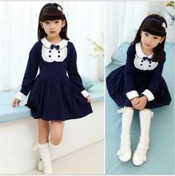V681 - Váy dài tay xanh đen nơ cổ phong cách Hàn Quốc cho bé 15kg - 25kg; 3T - 7T; sz 120 - 160