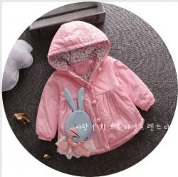 KG281 - Áo khoác hồng lót bông trang trí thỏ xanh cho bé 8kg - 13kg; 8th - 2,5t; sz 120 - 180