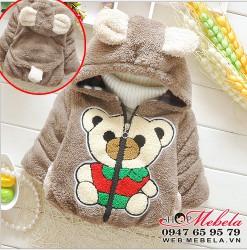 KT88 Áo khoác lông nâu liền mũ hình gấu xinh cho bé 8,10,12kg, sz 6-8-10