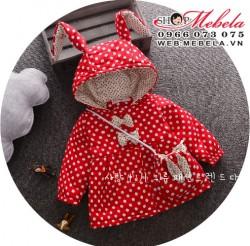 KG285 Áo khoác chấm bi đỏ liền mũ tai thỏ kèm túi cho bé gái 9-16KG, SZ 6-12