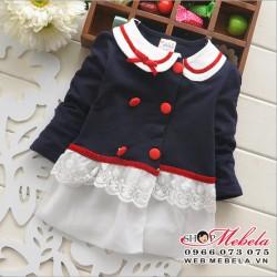 KG295 Áo khoác xanh đen dáng váy cho bé 9-12kg sz 100,110,120