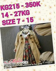 KG215 - Áo khoác măng to màu be cho bé gái 14 - 27kg, 3 - 8t, size 7 - 15