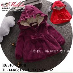 KG310 - Áo khoác nhung 3 lớp màu đỏ, tím bé gái 11 - 14kg, 18th - 3t; sz 6 - 12