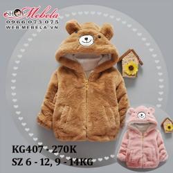 KG407 Áo khoác lông liền mũ gấu cho bé 9-14kg, 9th-3t, sz 6-12