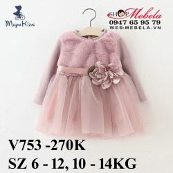 V753 Váy hồng tay len lót lông cho bé gái 10-14kg, sz 6-12