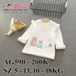 AG590 Áo trắng lót lông mềm hình mèo cổ nơ cho bé gái 10-18kg, sz 5-13