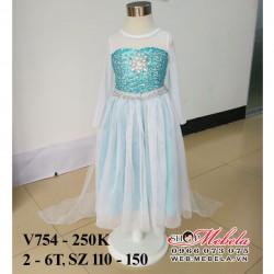 V754 Váy elsa áo choàng dài cho bé gái 2-6t, sz 110-150
