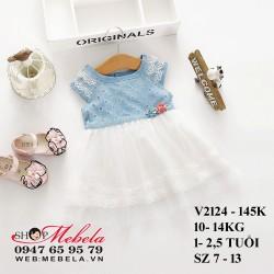 V2124- Váy giả bò chân ren trắng 2 hoa cho bé 10- 14kg, 1- 2,5 tuổi