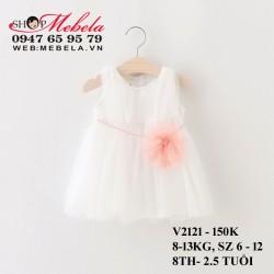 V2121- Váy ren trắng hoa hồng đai ngọc trai cho bé 8-13kg, 8th- 2,5 tuổi
