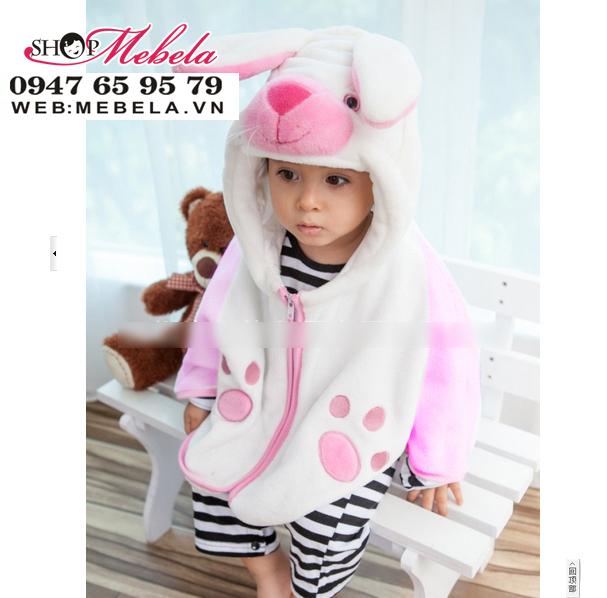 AC09 Áo choàng thỏ chất nhung băng lông mềm ấm cho bé 0 đến 4 tuổi