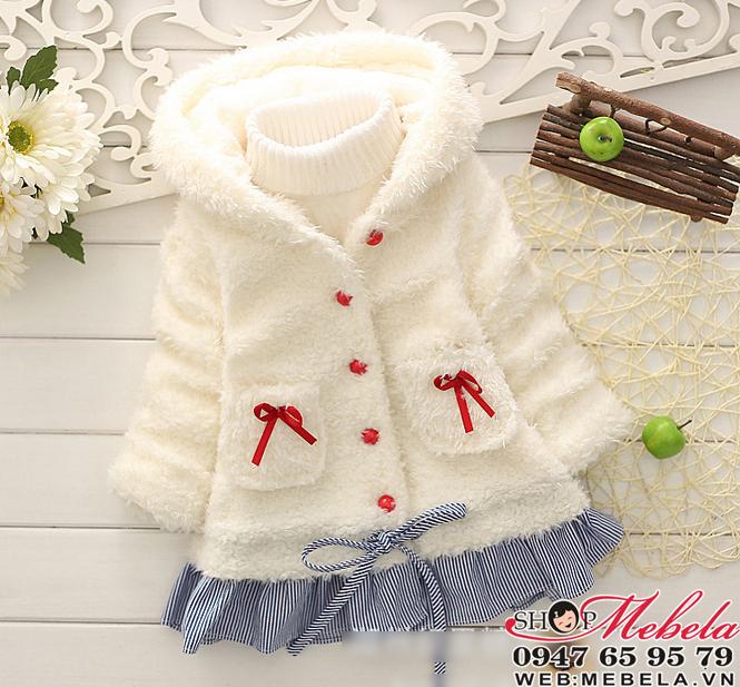 KG75 Áo khoác lông trắng nơ đỏ liền mũ cho bé gái 12,13kg (2,3,uổi) * không kèm áo len cổ lọ bên trong