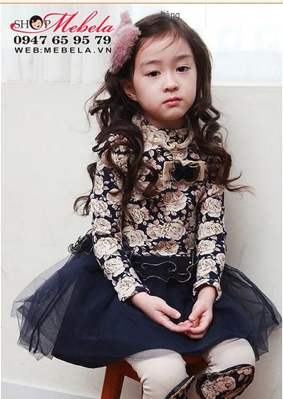 V557 Váy công chúa dài tay hoa chân ren xanh tím cho bé gái 12,14,16,18,20kg (2,3,4,5, 6 tuổi)