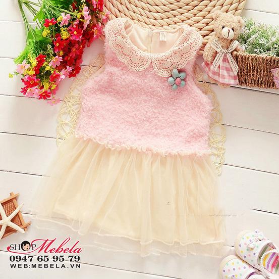 V559 Váy lông cổ ren, chân váy ren cho bé gái 12,14,16,18kg (2,3,4,5 tuổi)