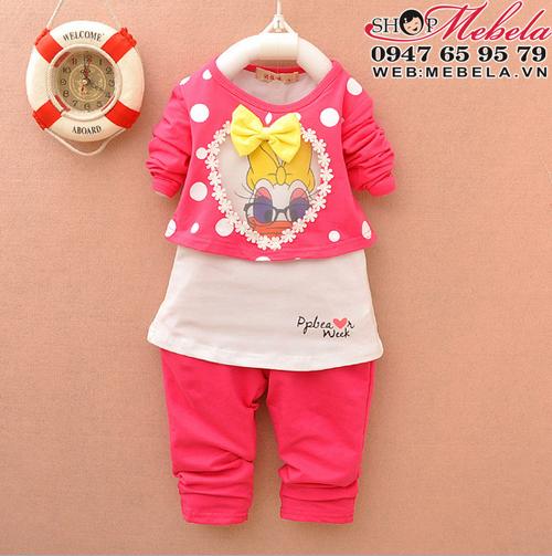 BG524 Bộ thu dài tay áo 2 lớp cho bé gái vịt Daisy 10,12,14,15kg (1,2,3 tuổi)
