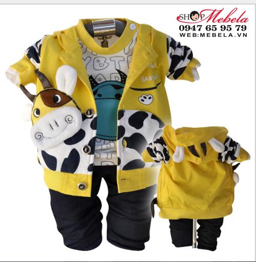 BT550 Bộ nỉ bò sữa vàng gồm 2 áo và 1 quần cho bé 10,11,12kg (1,2 tuổi)