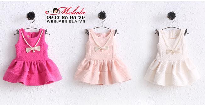 V553 Váy kèm dây nơ xinh cho bé 10,12,14,15 kg (1,2,3 tuổi)