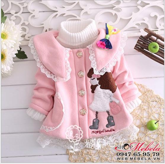 Kg83 Áo khoác nỉ hình bé gái đi boot 9,11,13,15kg (9 tháng,1,2,3 tuổi), ko kèm áo len cổ lọ bên trong
