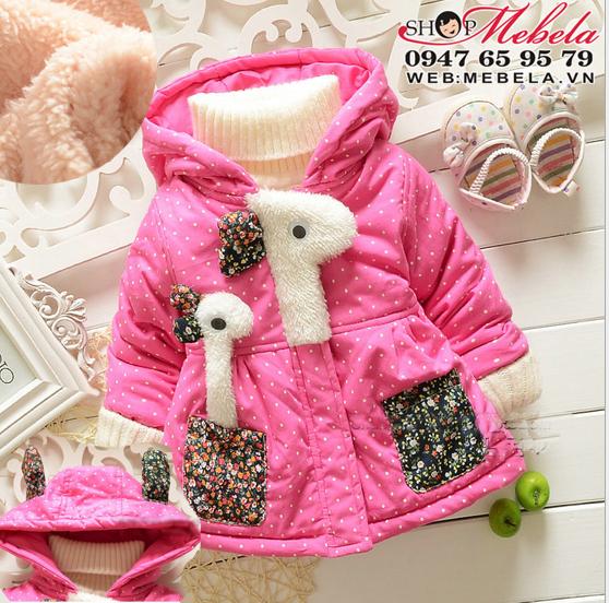 KG91 Áo khoác hồng lót lông hươu cao cổ 7, 9,11,13kg ( 5 tháng đến 3 tuổi)
