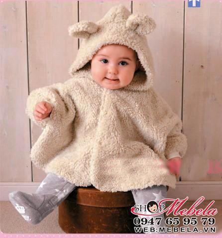 AC02 Áo choàng lông tai gấu cho bé 1 đến 3 tuổi 15kg trở xuống