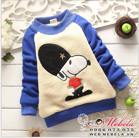AT513 Áo nỉ lót lông 2 lớp dày ấm hình chó Snoopy 12 đến 18kg (2 đến 5 tuổi)