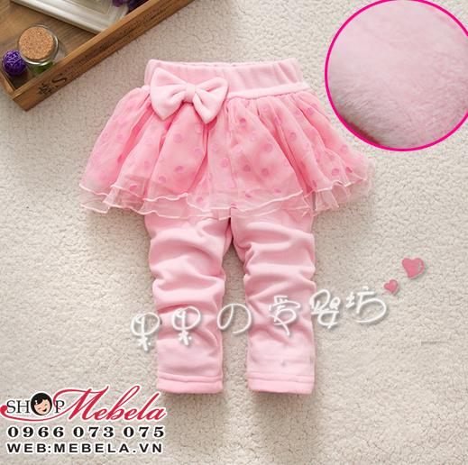 QG520 Quần liền váy hồng nơ chất nỉ lót lông ấm mềm 1 đến 3tuổi