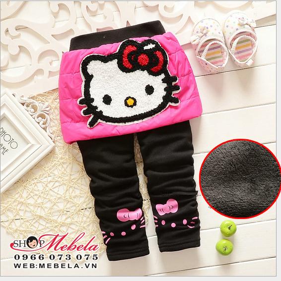 QG515 Quần liền váy Kitty chất nỉ lót lông dày ấm 3 đến 7 tuổi