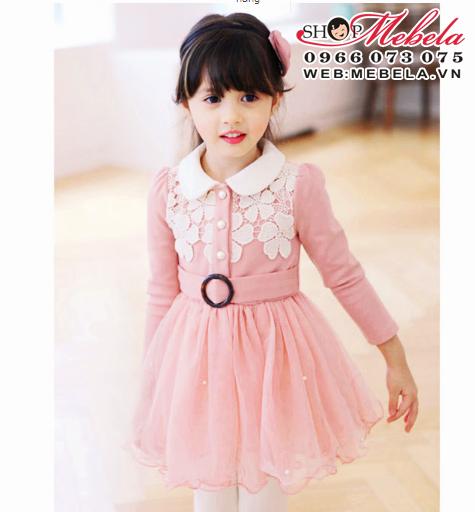 V584 Váy công chúa ren hoa chất thun lót lông 2,5 đến 7 tuổi