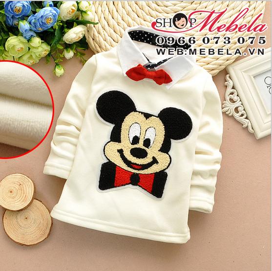 AT515 Áo cổ tròn Mickey nỉ lông dày ấm (11 đến 17 kg) ko kèm nơ và áo có cổ v