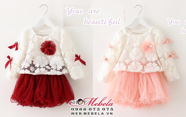 V589 Váy liền kèm áo ren rời bên ngoài 1 đến 3 tuổi (khaỏng 10 đến 15kg)