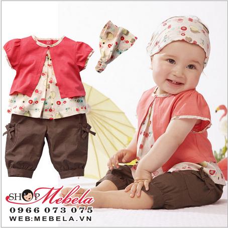 BG88 Bộ 3 món áo, quần, băng đô cho bé 6 đến 24 tháng
