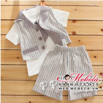 BT46 Bộ gile gồm 4 sp: 2 áo, cà vạt, quần cho bé 2 đến 4 tuổi