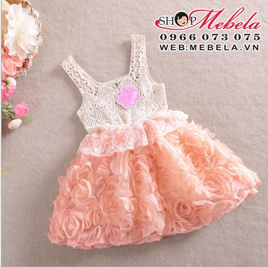 V166 Váy ren chân hoa hồng xòe 4 đến 6 tuổi