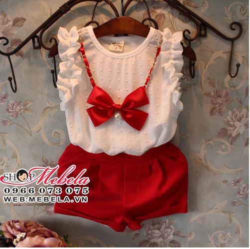 BG87 - Bộ sát nách áo trắng nơ đỏ cho bé gái 2-7 tuổi